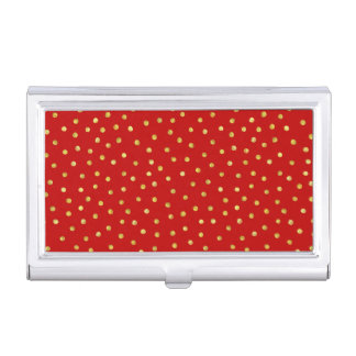 Elegant Red And Gold Foil Confetti Dots Pattern Business Card Holders
