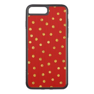 Elegant Red And Gold Foil Confetti Dots Pattern Carved iPhone 8 Plus/7 Plus Case