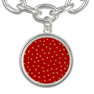 Elegant Red And Gold Foil Confetti Dots Pattern Charm Bracelets