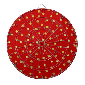 Elegant Red And Gold Foil Confetti Dots Pattern Dart Board