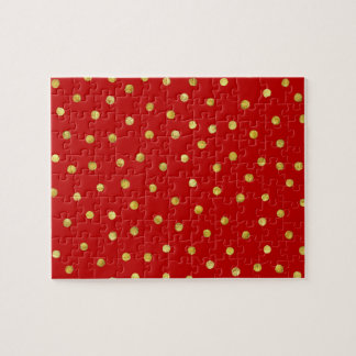 Elegant Red And Gold Foil Confetti Dots Pattern Jigsaw Puzzle