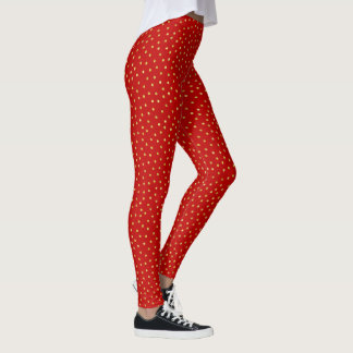 Elegant Red And Gold Foil Confetti Dots Pattern Leggings