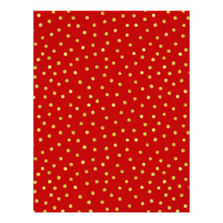 Elegant Red And Gold Foil Confetti Dots Pattern Letterhead
