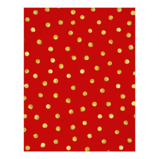 Elegant Red And Gold Foil Confetti Dots Pattern Letterhead Design