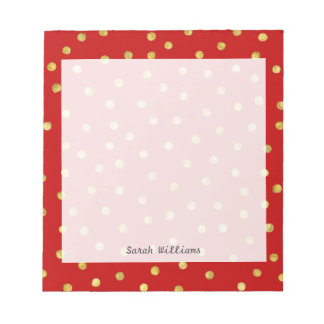 Elegant Red And Gold Foil Confetti Dots Pattern Notepad