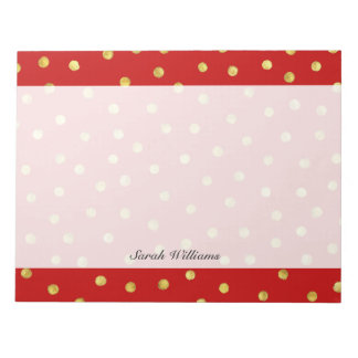 Elegant Red And Gold Foil Confetti Dots Pattern Notepads