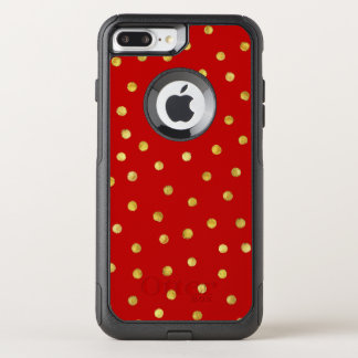 Elegant Red And Gold Foil Confetti Dots Pattern OtterBox Commuter iPhone 8 Plus/7 Plus Case