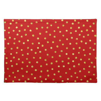 Elegant Red And Gold Foil Confetti Dots Pattern Placemat