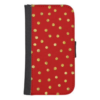 Elegant Red And Gold Foil Confetti Dots Pattern Samsung S4 Wallet Case