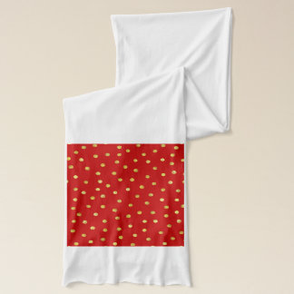Elegant Red And Gold Foil Confetti Dots Pattern Scarf