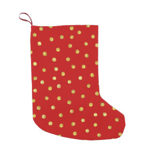 Elegant Red And Gold Foil Confetti Dots Pattern Small Christmas Stocking