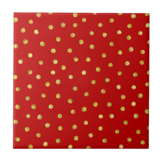 Elegant Red And Gold Foil Confetti Dots Pattern Tile