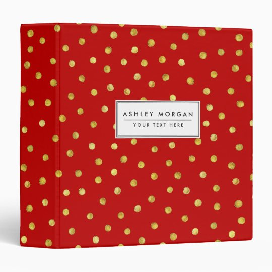 Elegant Red And Gold Foil Confetti Dots Pattern Vinyl Binders
