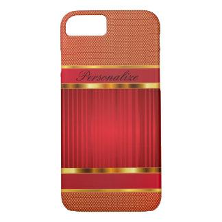 Elegant Red and Gold Metal Design iPhone 7 Case