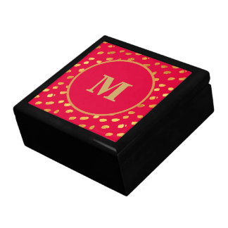 Elegant Red and Gold Monogram Gift Box