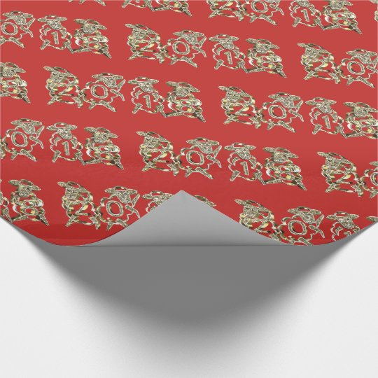 Elegant Red and Gold Sheep Happy New Year 2018 Wrapping Paper