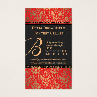 Elegant Red and Gold Shimmer Damask Musician's Business Card