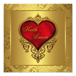 Elegant Red and Gold Wedding Card