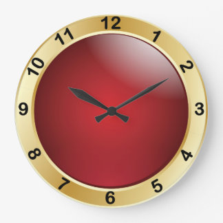 Elegant Red and Gold with Black Numbers Large Clock
