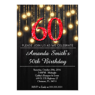 "Elegant Red and Gold Womans 60th Birthday Party In 5"" X 7"" Invitation Card"
