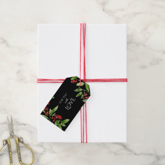 Elegant Red and Green Holly Branches Pack Of Gift Tags