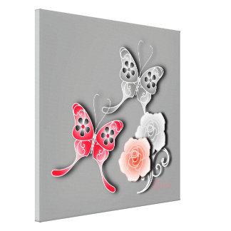 Elegant Red And Silver Butterflies And Roses Gallery Wrap Canvas