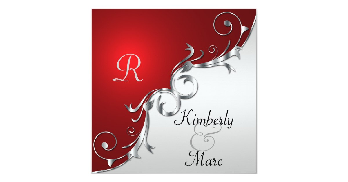 Red Black And Silver Wedding Invitations: Elegant Red And Silver Wedding Invitation