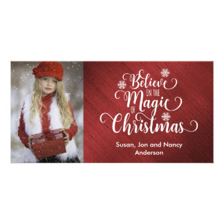 Elegant Red and White Christmas Photo Card