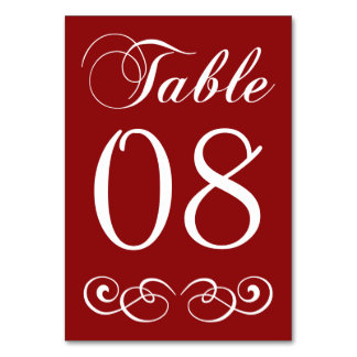 Elegant Red And White Wedding Table Number