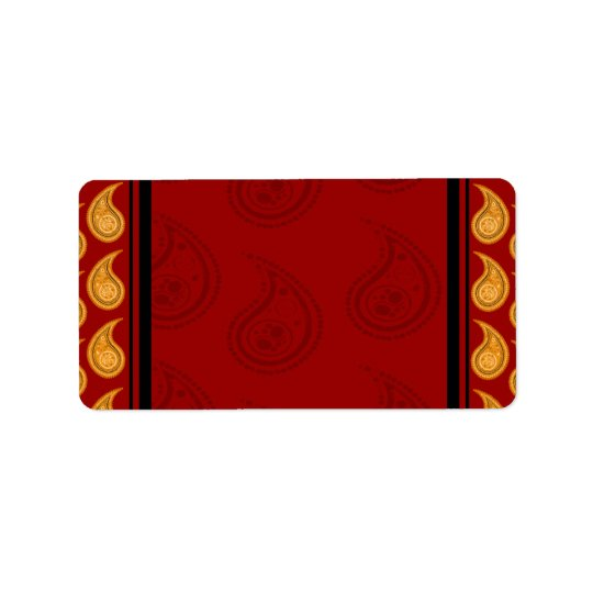 Elegant Red and Yellow paisley pattern gift Label