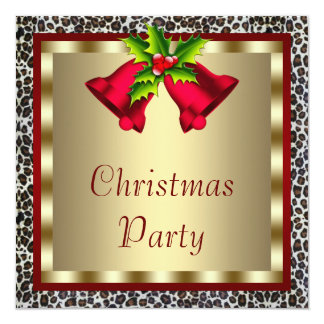 Elegant Red Bells Red Leopard Christmas Party Card