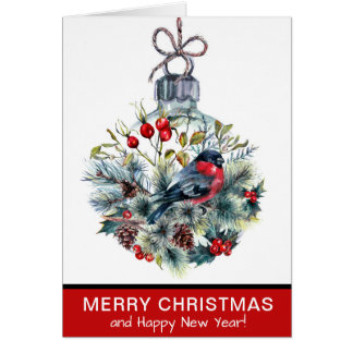Elegant Red Bird Ornament Christmas Holiday Card