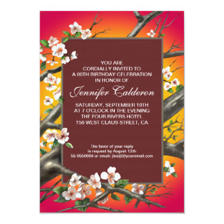 elegant red birthday party blossoms invitations