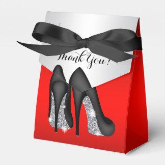 Elegant Red Black High Heel Shoe Favor Boxes