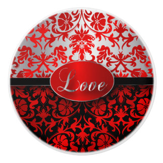 Elegant Red, Black, Silver Damask Ceramic Knob