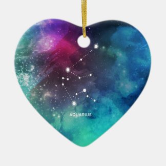 Elegant Red Blue Watercolor Nebula Aquarius Ceramic Heart Ornament