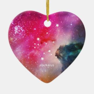 Elegant Red Blue Watercolor Nebula Aquarius Ceramic Heart Ornament
