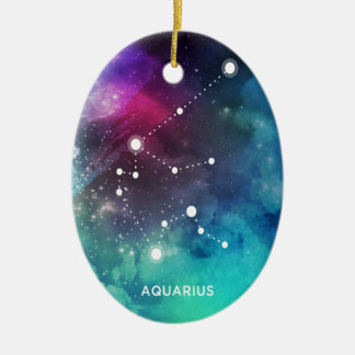 Elegant Red Blue Watercolor Nebula Aquarius Ceramic Oval Ornament