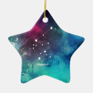 Elegant Red Blue Watercolor Nebula Aquarius Ceramic Star Ornament