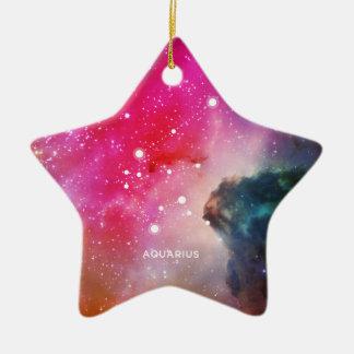 Elegant Red Blue Watercolor Nebula Aquarius Ceramic Star Ornament