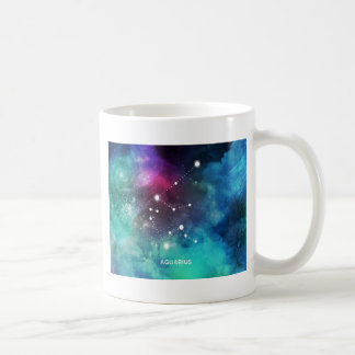 Elegant Red Blue Watercolor Nebula Aquarius Coffee Mug