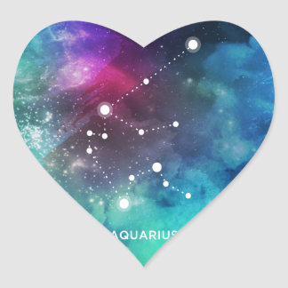 Elegant Red Blue Watercolor Nebula Aquarius Heart Sticker