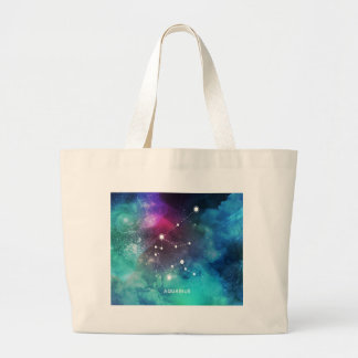 Elegant Red Blue Watercolor Nebula Aquarius Large Tote Bag