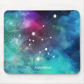 Elegant Red Blue Watercolor Nebula Aquarius Mouse Pad