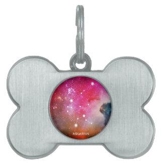Elegant Red Blue Watercolor Nebula Aquarius Pet Name Tags