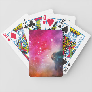Elegant Red Blue Watercolor Nebula Aquarius Poker Deck