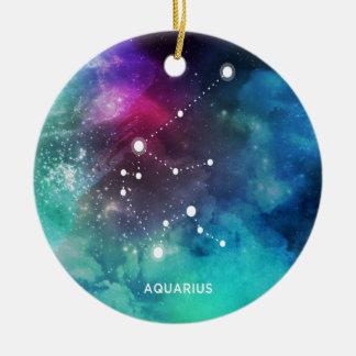 Elegant Red Blue Watercolor Nebula Aquarius Round Ceramic Ornament