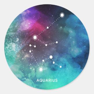 Elegant Red Blue Watercolor Nebula Aquarius Round Sticker