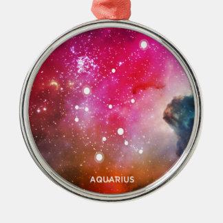 Elegant Red Blue Watercolor Nebula Aquarius Silver-Colored Round Ornament