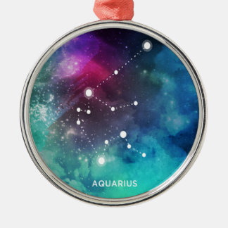 Elegant Red Blue Watercolor Nebula Aquarius Silver-Colored Round Ornament